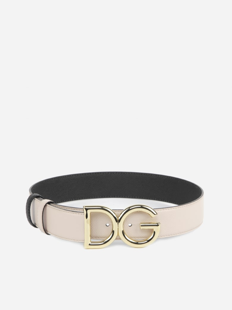 Dolce & Gabbana Leather Belt With Dg Logo - Pink