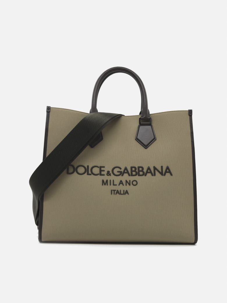 Dolce & Gabbana Edge Bag In Canvas With Leather Inserts - Taupe, mud