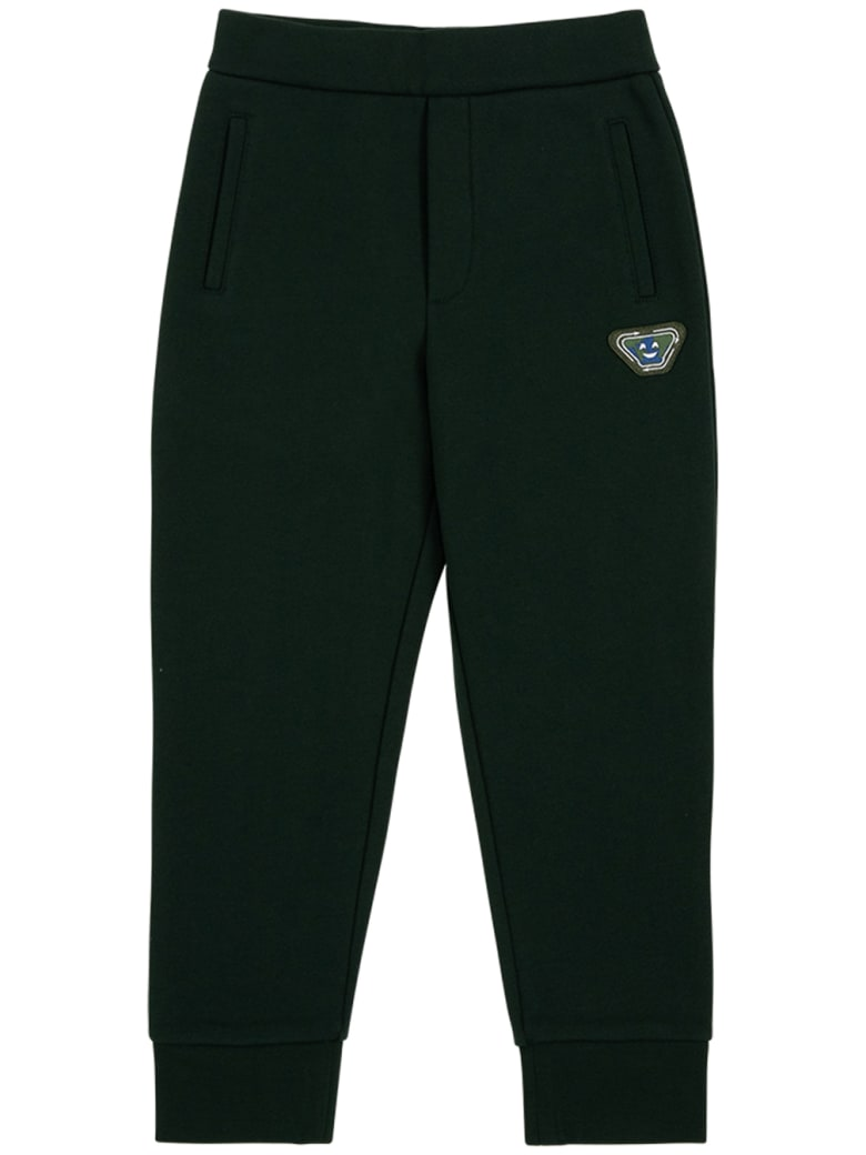 Emporio Armani Green Pants In Recycled Cotton With Logo - Green