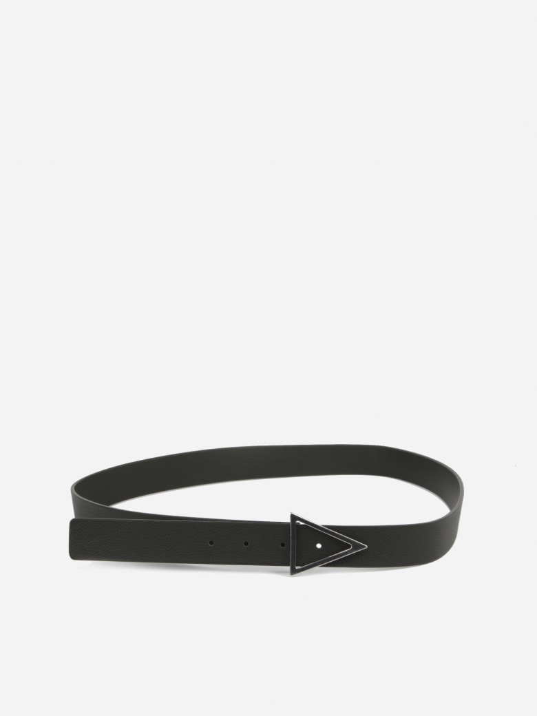 Bottega Veneta Black Leather Belt - Camping-silver