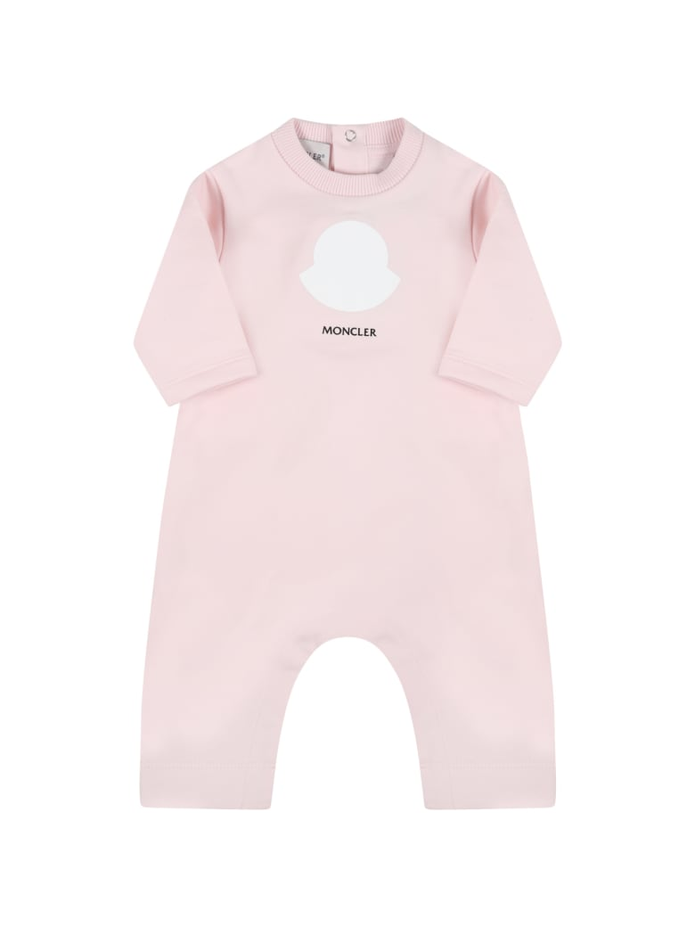 Moncler Pink Babygrow For Baby Girl With Logo - Pink
