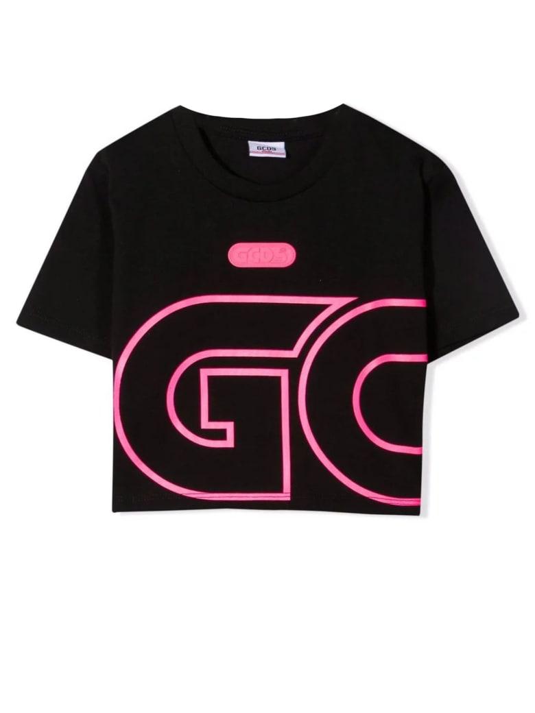 GCDS Black Cotton Cropped T-shirt - Nero