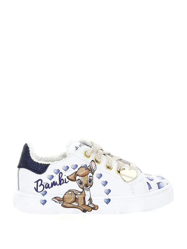 Monnalisa Leather Sneakers With Bamby Print - Beige