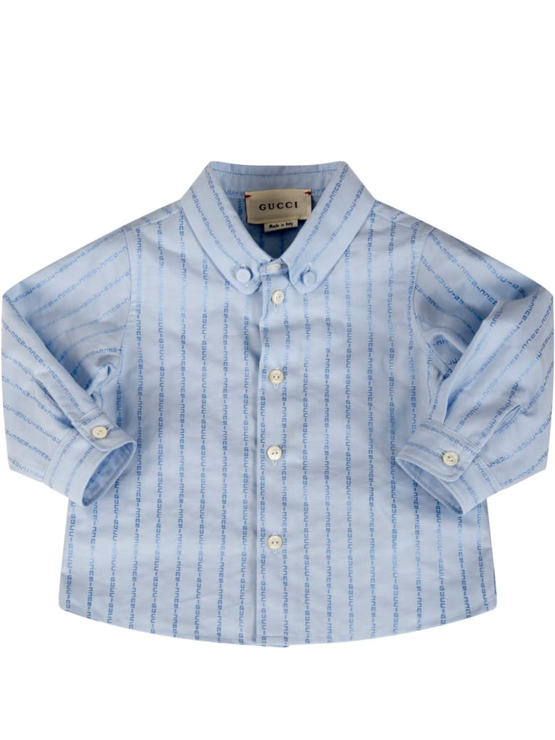 Gucci Light Blue Shirt For Babyboy With Logos - Light Blue