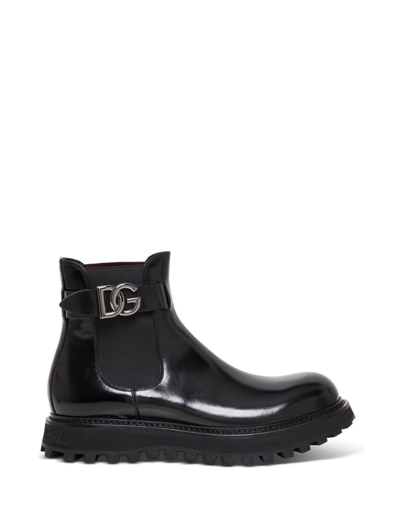 Dolce & Gabbana Glossy Black Leather Boots With Logo - Black