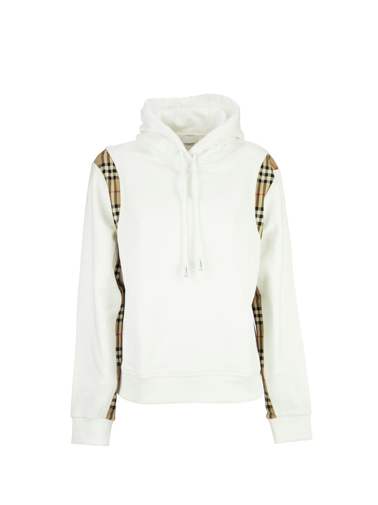 Burberry Checker - Vintage Check Panel Cotton Oversized Hoodie - White