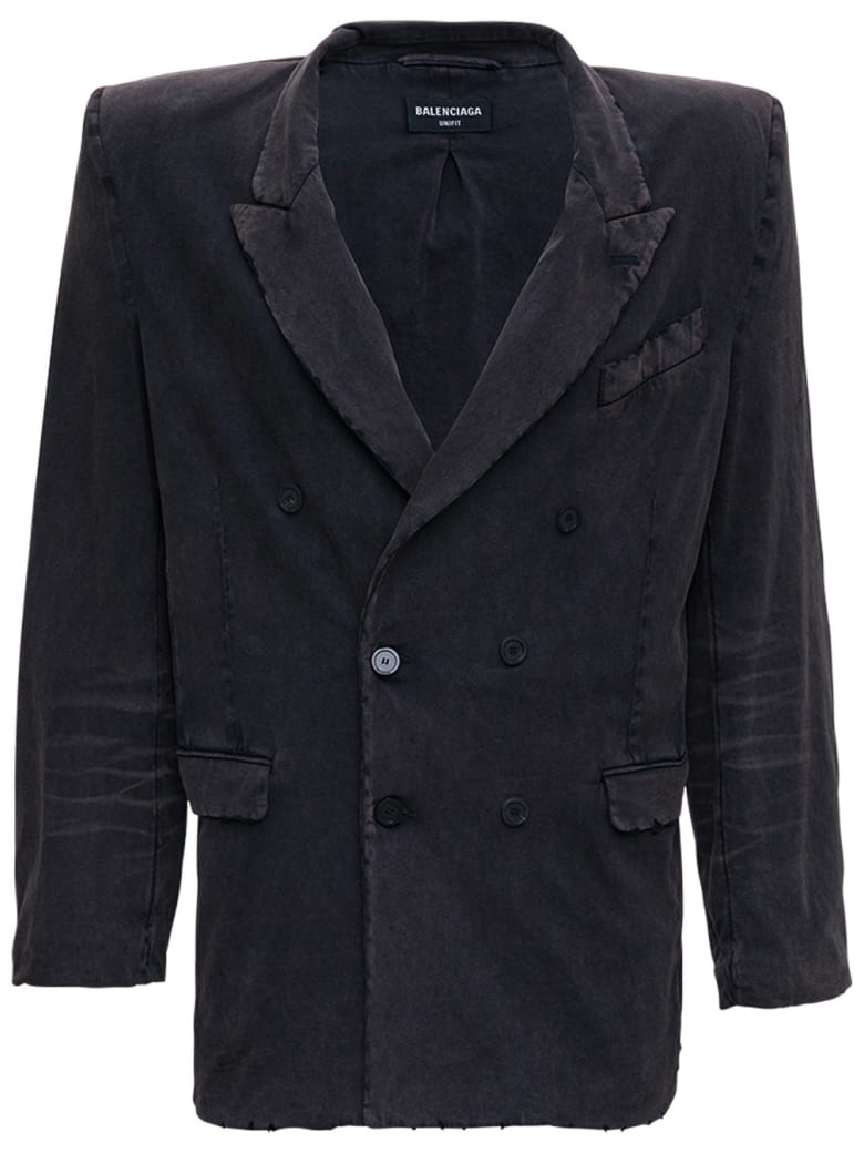Balenciaga Double-breasted Jacket In Washed Effect Black Cotton - Black