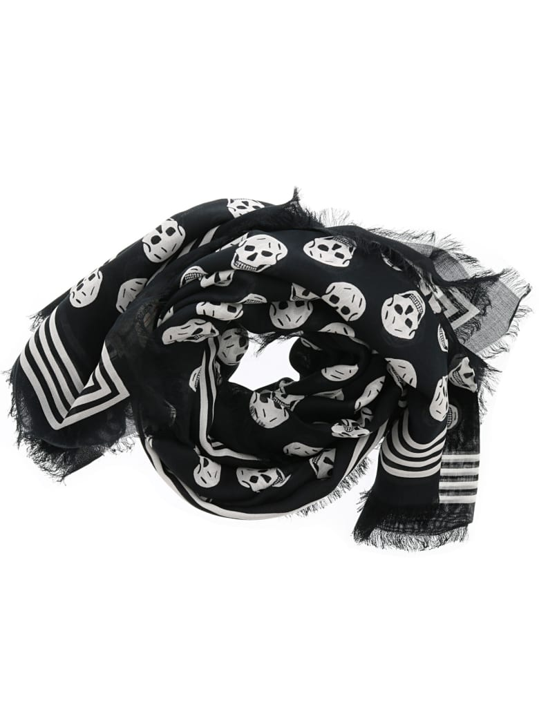 Alexander McQueen Skull Foulard - Black/ivory