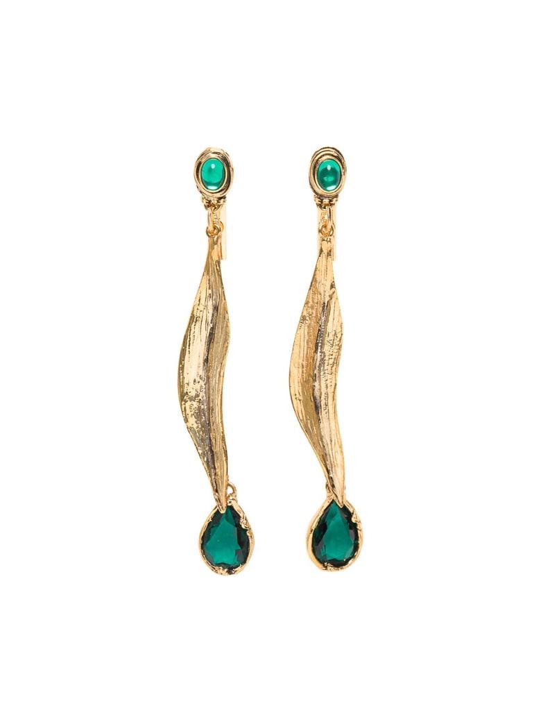 Alberta Ferretti Golden Metal Earrings With Green Stones - Green