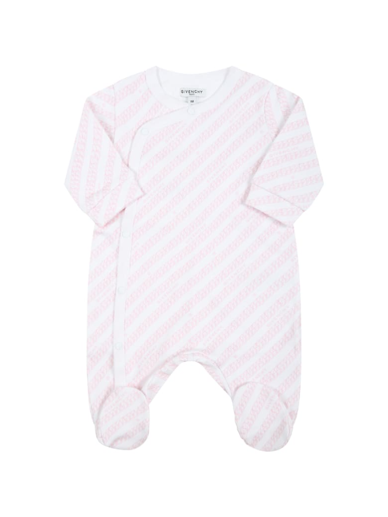 Givenchy White Babygrow For Baby Girl With Logos - White
