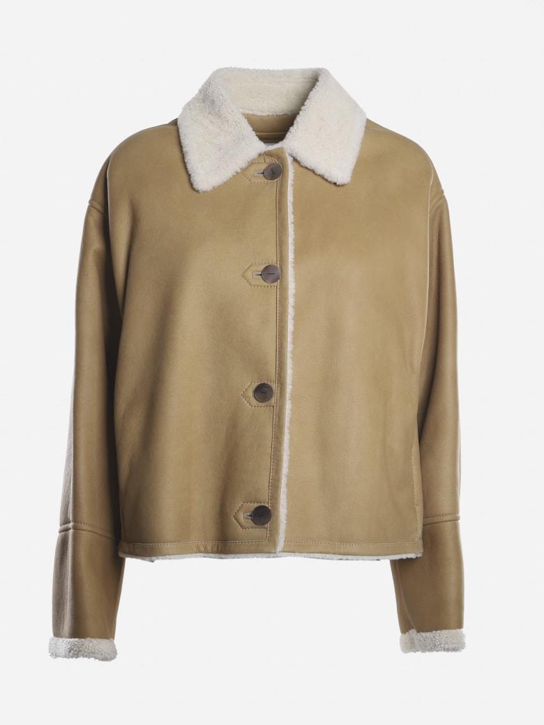 Loewe Short Jacket Made Of Shearling - White, camel