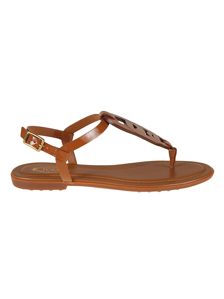 Tod's Side Buckled Flat Sandals - Mattone