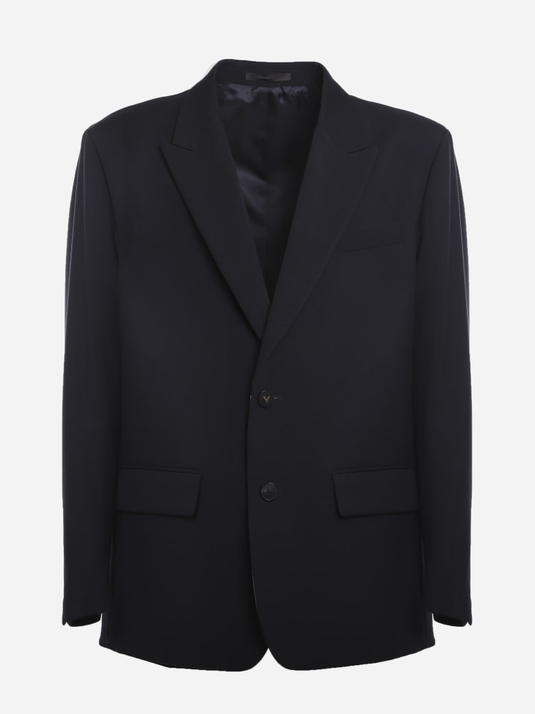 Valentino Single-breasted Wool Jacket With Logoed Buttons - Blue