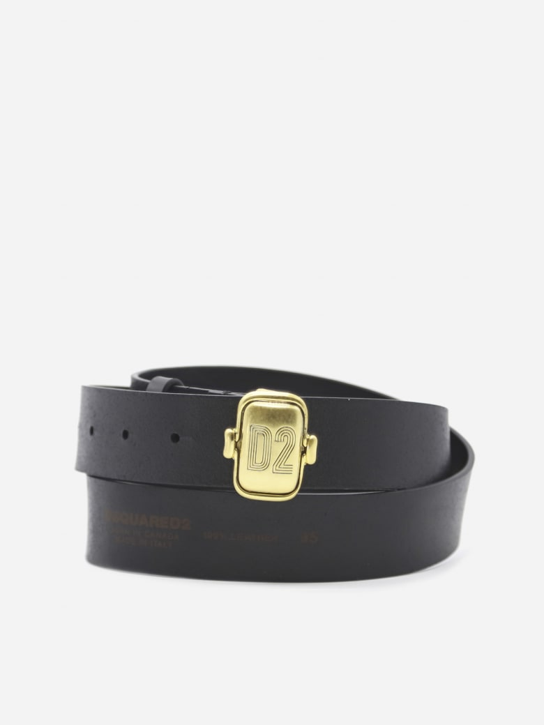 Dsquared2 Leather Belt With Logoed Buckle - Black