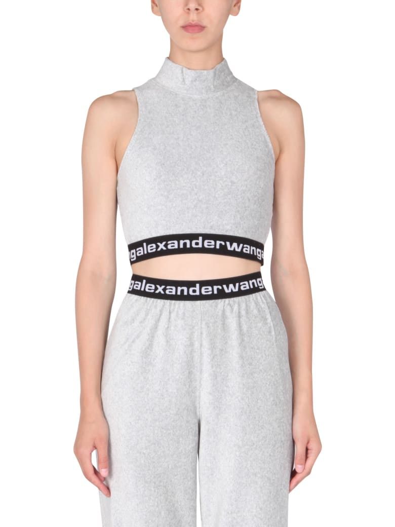 T by Alexander Wang Top With Logo - GRIGIO