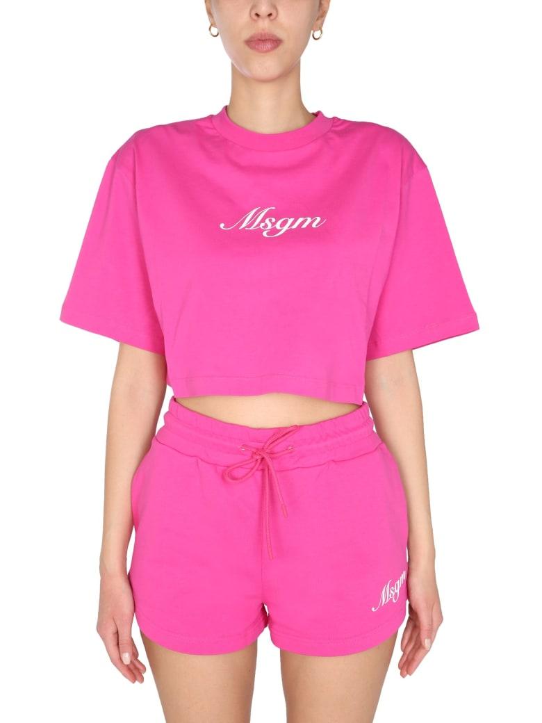 MSGM Cropped T-shirt - Fucsia