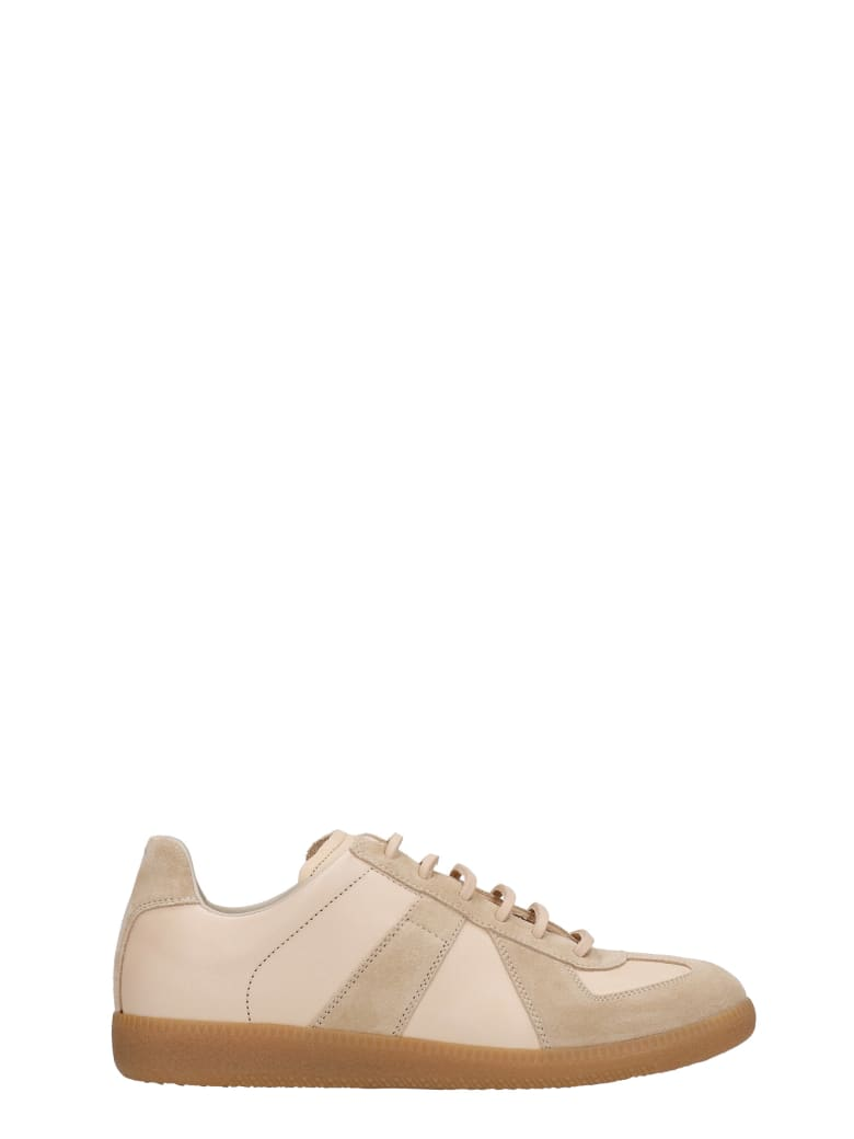 Maison Margiela Replica Sneakers In Powder Suede And Leather - powder