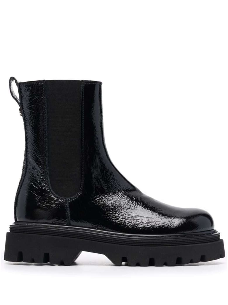 Casadei Chelsea Boots In Black Shiny Leather - Black