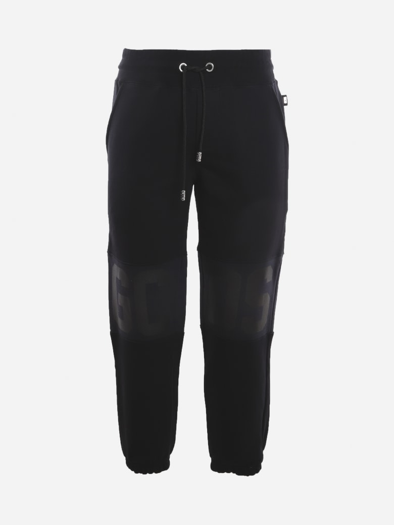 GCDS Cotton Trousers With Tone-on-tone Logo Band - Black