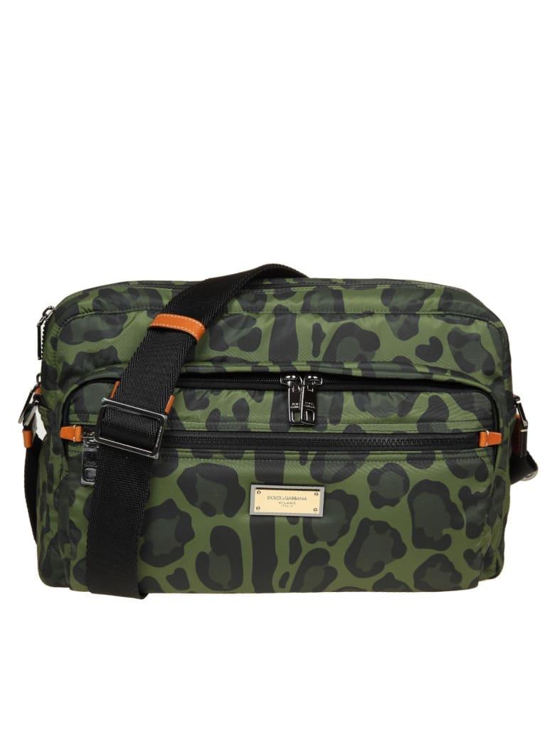 Dolce & Gabbana Messenger In Nylon With Camouflage Print - Verde e Nero