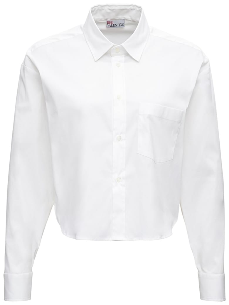 RED Valentino White Crop Shirt In Cotton Poplin - White