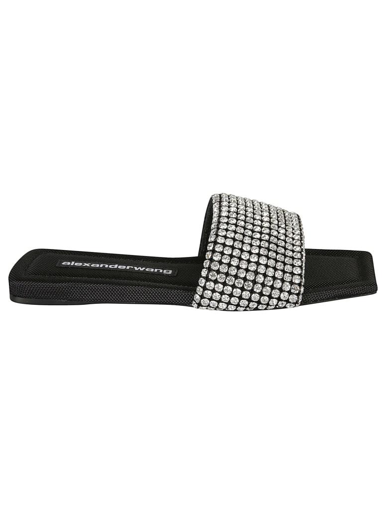 Alexander Wang Crystal Embellished Sliders - Black