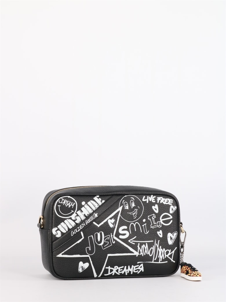 Golden Goose Star Bag With Graffiti Print - Black