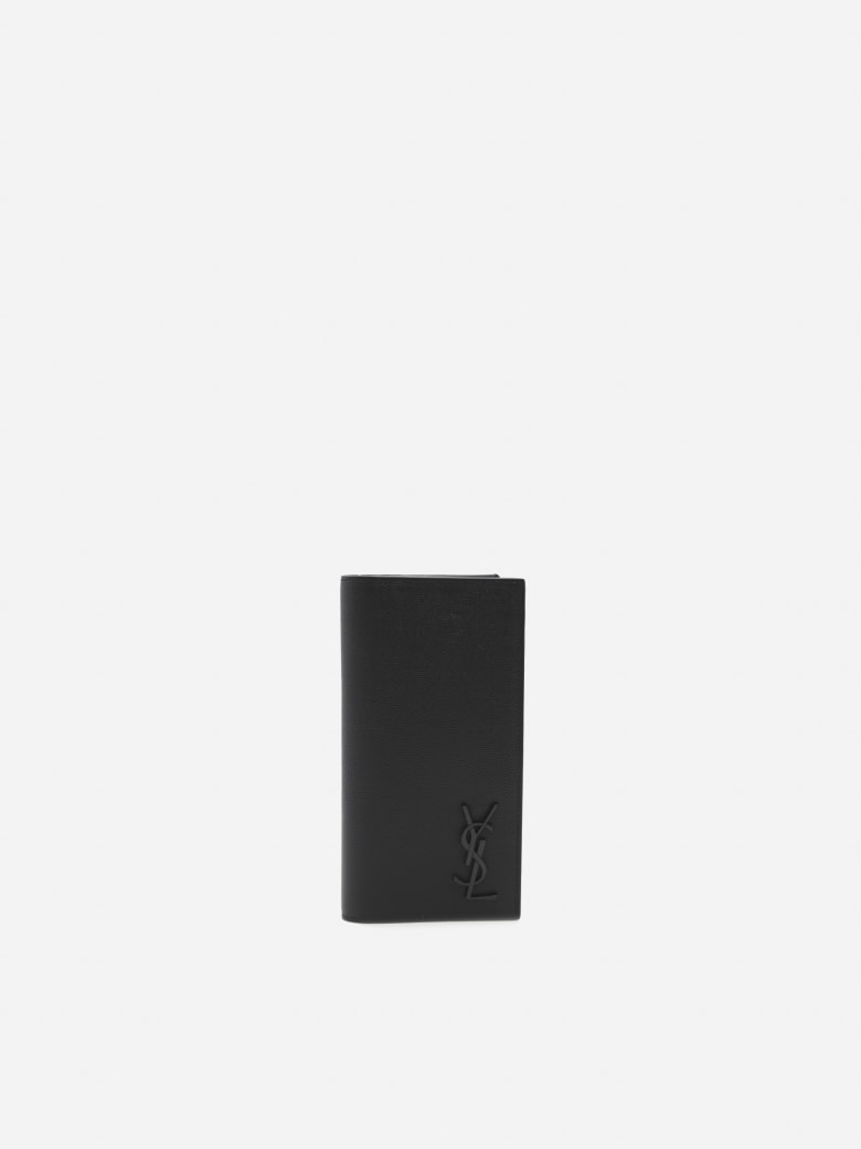 Saint Laurent Continental Wallet In Embossed Leather With Monogram - Black