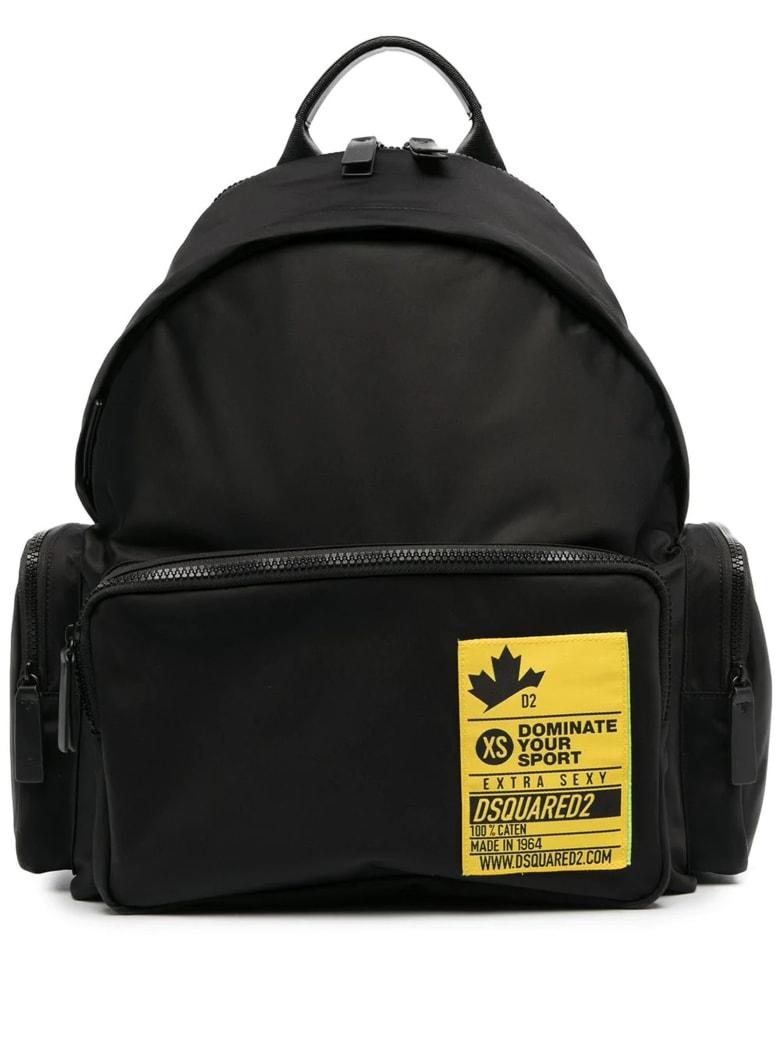 Dsquared2 Black And Yellow Nylon Backpack - Nero