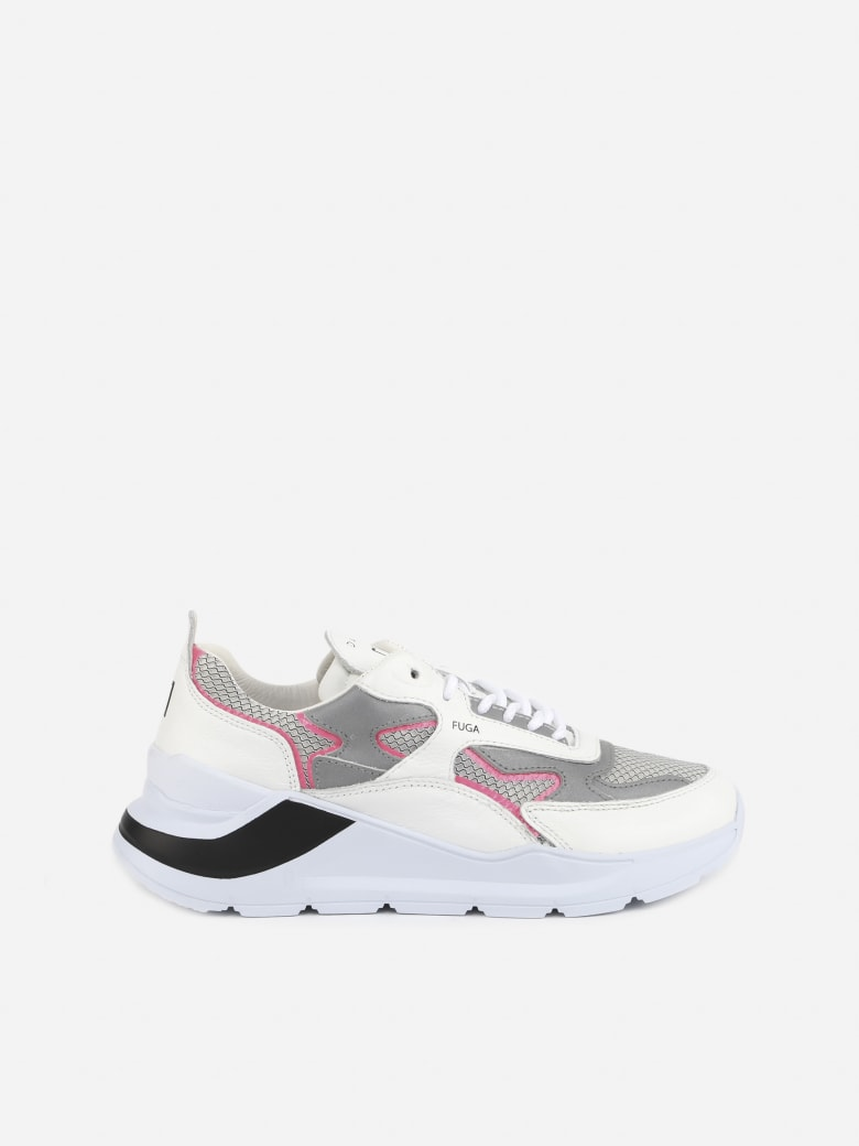 D.A.T.E. Leather Sneakers With Mesh Inserts - White-fuxia