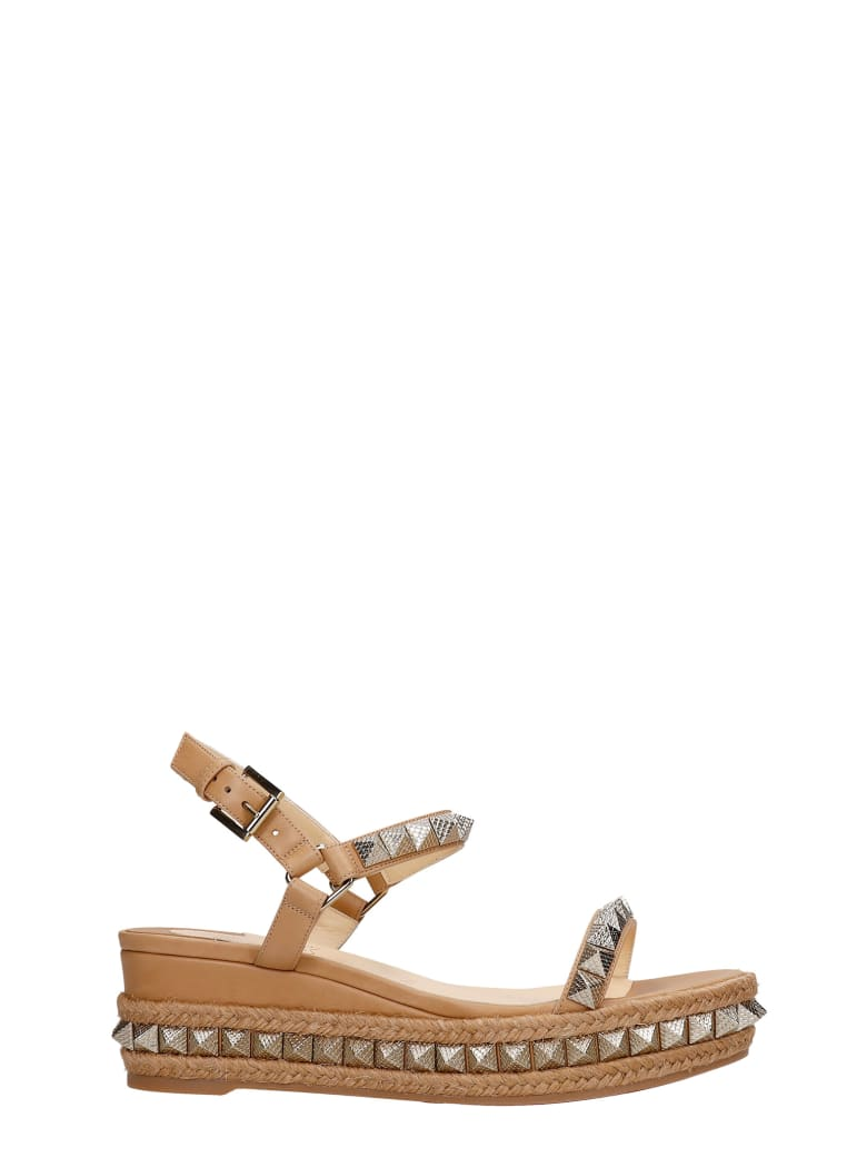 Christian Louboutin Pyraclou 60 Wedges In Beige Leather - beige