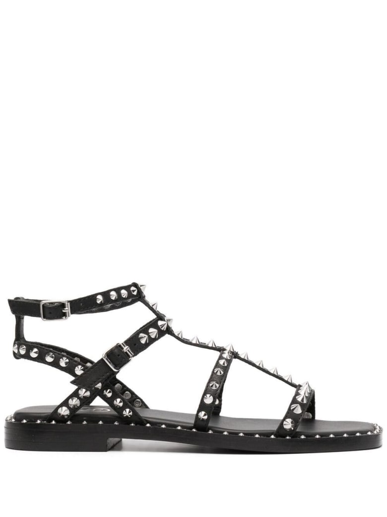 Ash Black Leather Sandals With Studs - Black