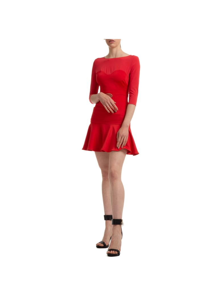 Elisabetta Franchi Baroque Mini Dress - Rosso