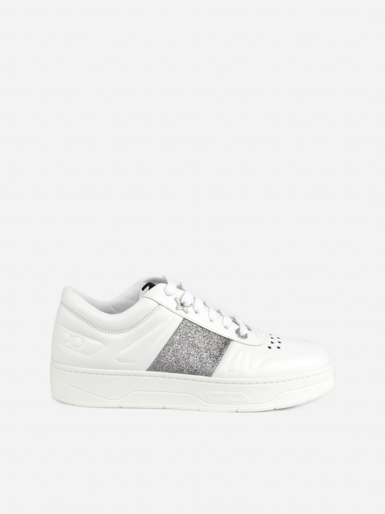 Jimmy Choo Hawaii F Sneakers In Leather With Glitter Insert - White