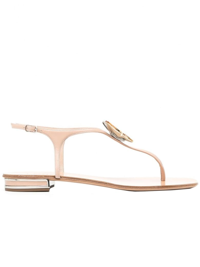 Casadei Nude Leather Flat Sandals - Cipria