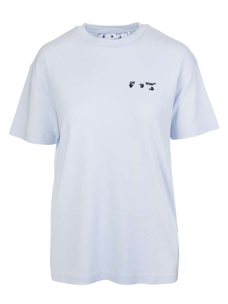 Off-White Woman Light Blue T-shirt With Logo