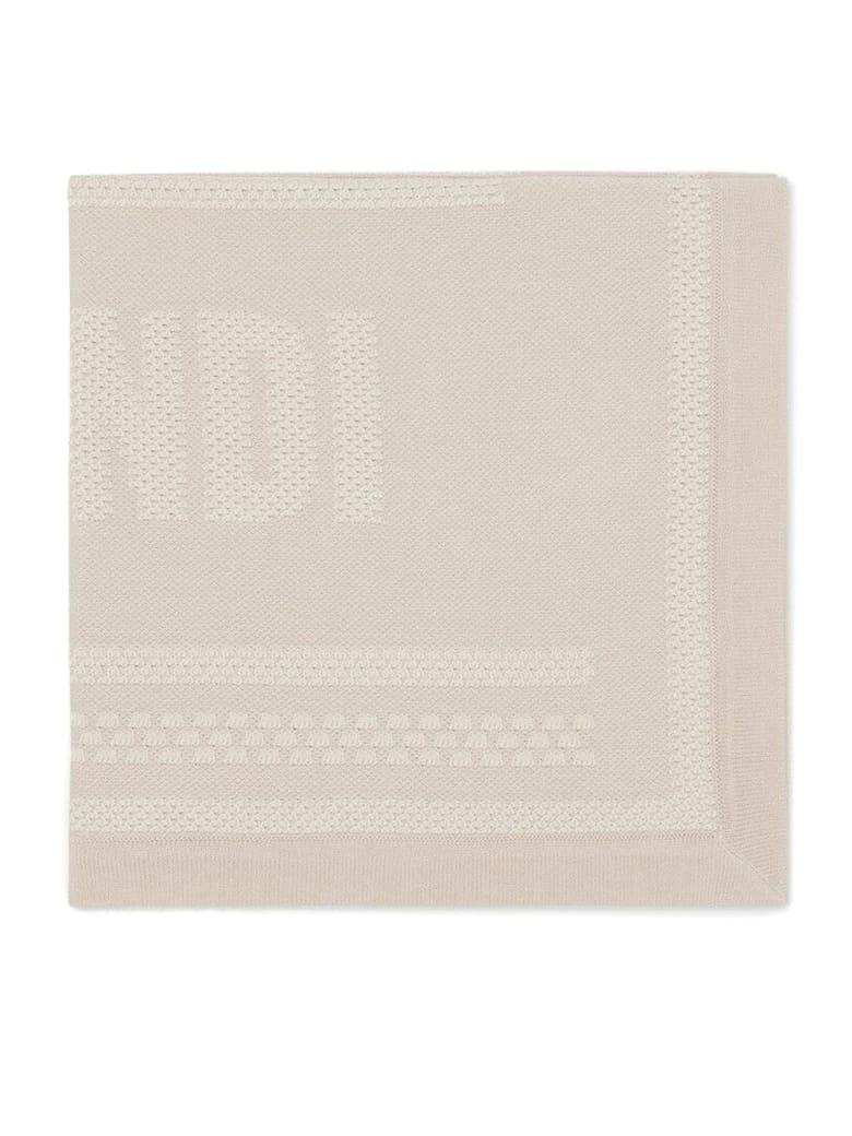 Fendi Beige Cotton And Cashmere Baby Blanket - Beige