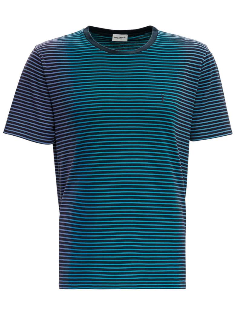 Saint Laurent Striped Cotton T-shirt With Logo - Light blue