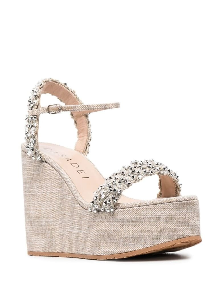 Casadei Wedge Sandals With Silver Studs - Metallic
