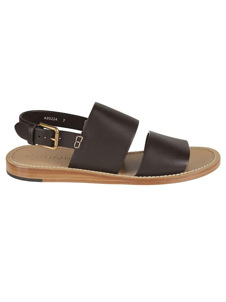 Dolce & Gabbana Slingback Side Buckled Flat Sandals - Brown
