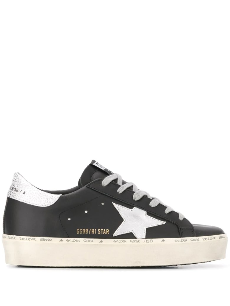 Golden Goose Woman Black Hi-star Sneakers With Silver Star And Spoiler