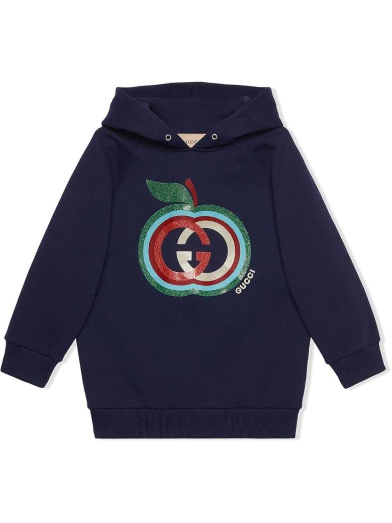 Gucci Dark Blue Felted Cotton Jersey Hoodie - Blu