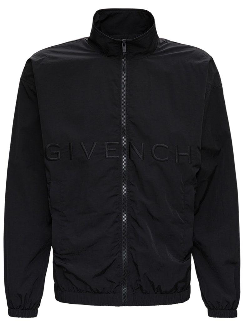 Givenchy Black Nylon Windbreaker With Logo - Black