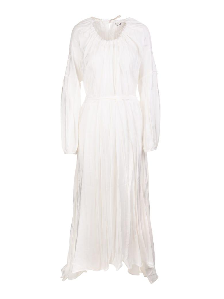 Jil Sander Woman White Long Dress In Twill - Blanc