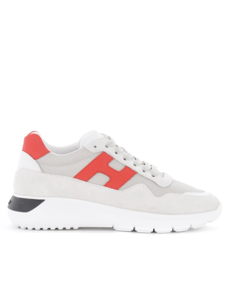 Hogan H371 Interactive³ Sneakers In Suede And Light Gray Fabric ...