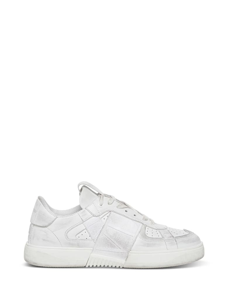 Valentino Garavani Vl7n Sneakers In Leather And Fabric - White