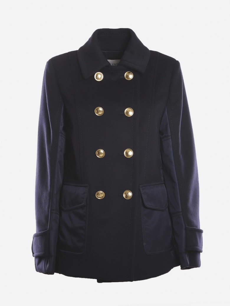 Valentino Caban In Wool And Cashmere With Vlogo Signature Detail - Blue