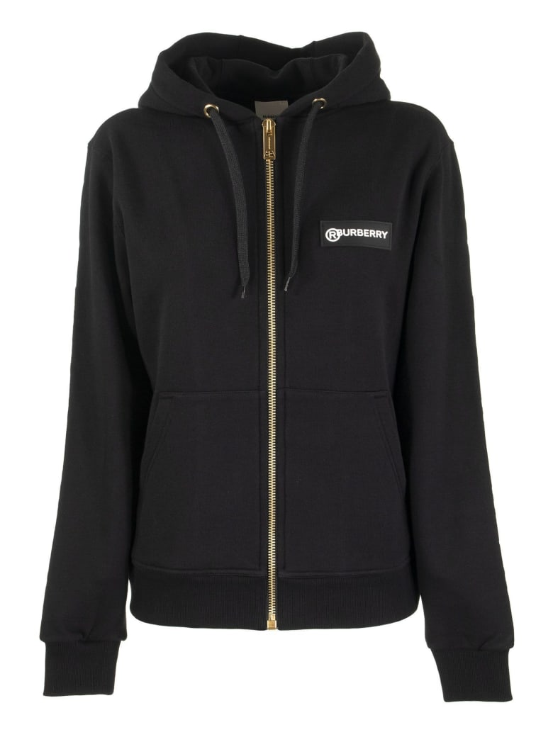 Burberry Aubree - Oversized Cotton Hooded Sweatshirt With Vintage Check Inserts - Black