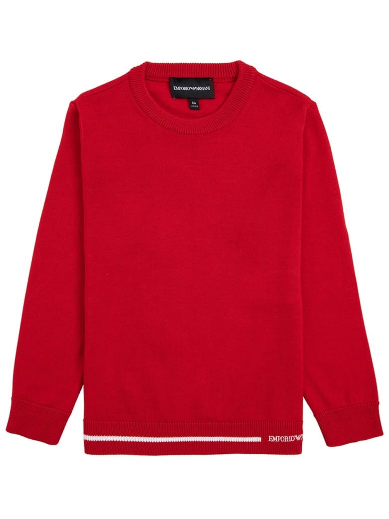 Emporio Armani Red Sweater In Wool Blend - Red
