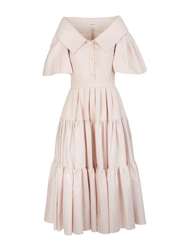 Alexander McQueen Pale Pink Poplin Midi Dress With Open Collar - Tea rose